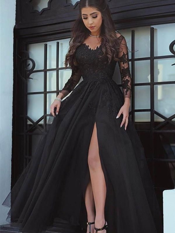bcab9bb9fb Ball Gown Black Floor-Length Lace Applique Prom Dresses ...