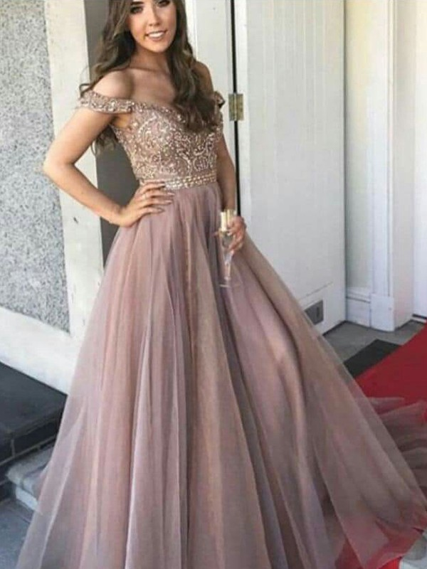 Off-the-Shoulder A-Line Pink Tulle Beading Prom Dresses