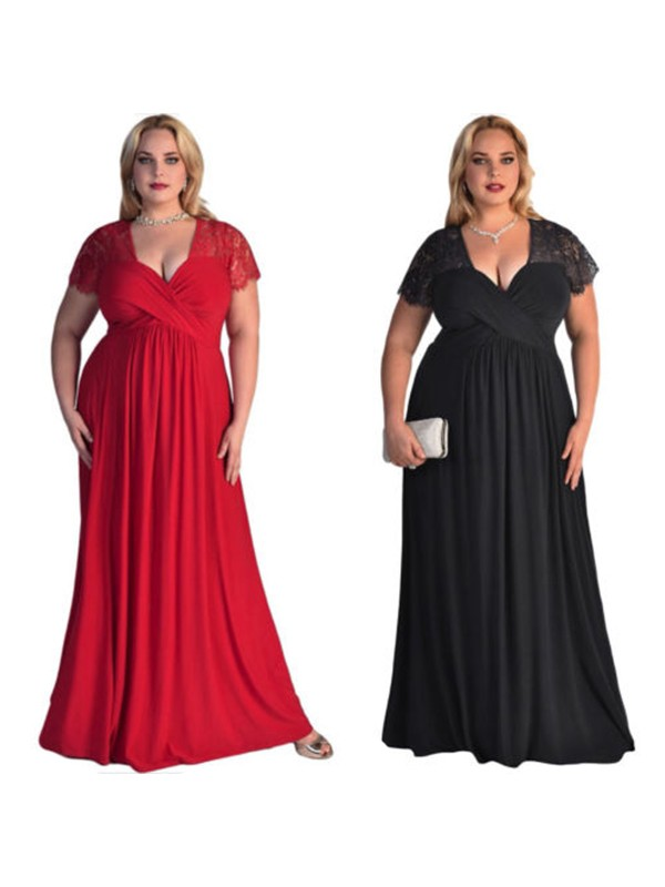 A-Line Black Floor-Length V-neck Chiffon Plus Size Prom Dresses