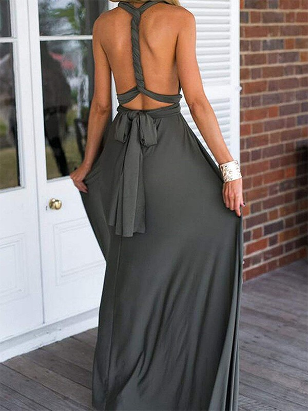 Empire Gray V-neck Floor-Length Chiffon Prom Dresses