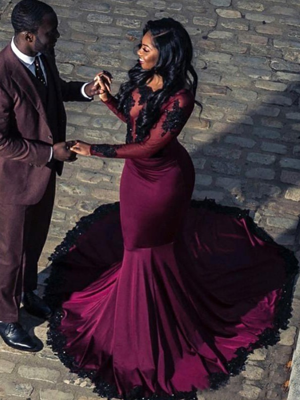 Mermaid Long Sleeves Burgundy Applique Satin Prom Dresses