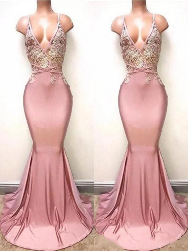 Mermaid V-neck Pink Brush Train Lace Satin Prom Dresses