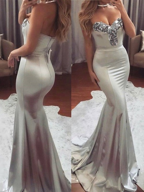 Mermaid Sweetheart Brush Train Grey Satin Prom Dresses