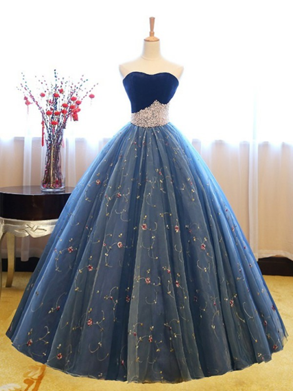 Ball Gown Sweetheart Blue Floor-Length Beading Net Prom Dresses
