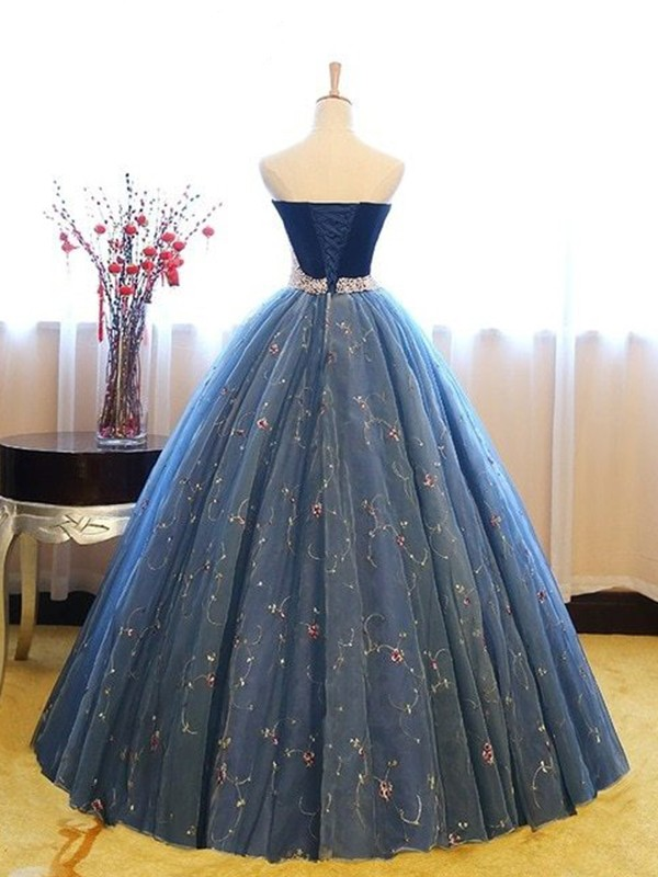 750e4903a186 Ball Gown Sweetheart Blue Floor-Length Beading Net Prom Dresses ...
