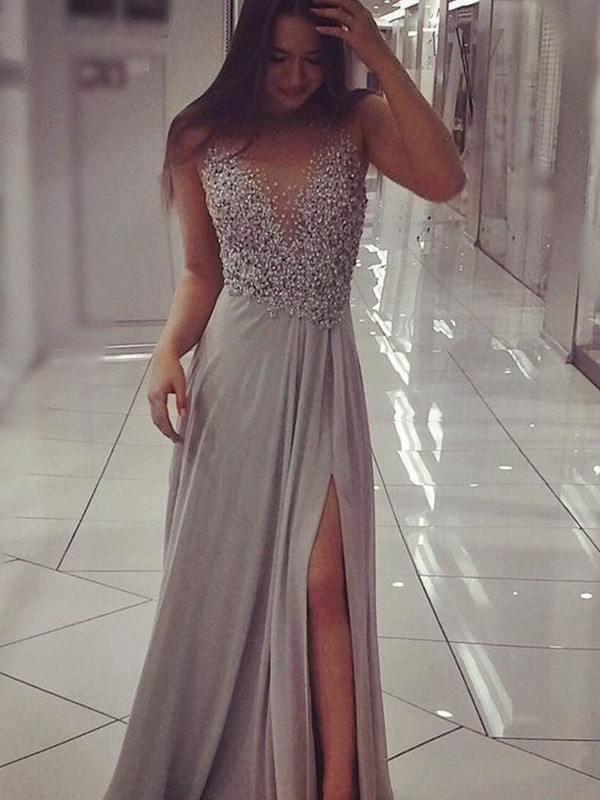 A-Line V-neck Floor-Length Grey Beading Chiffon Prom Dresses