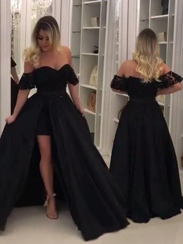 Ball Gown Off-the-Shoulder Black Lace Satin Prom Dresses
