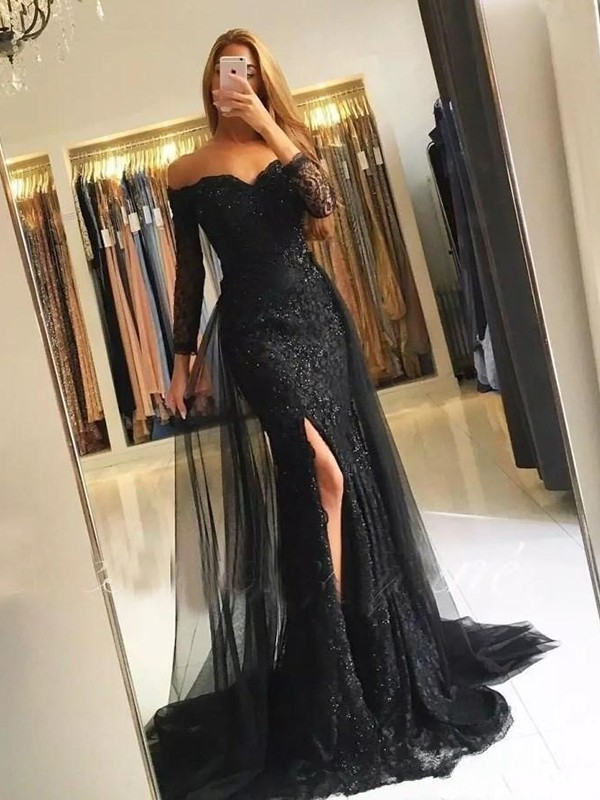 Mermaid Off-the-Shoulder Black Brush Train Tulle Prom Dresses