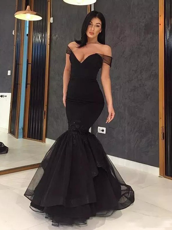 Mermaid Off-the-Shoulder Long Black Ruffles Tulle Prom Dresses