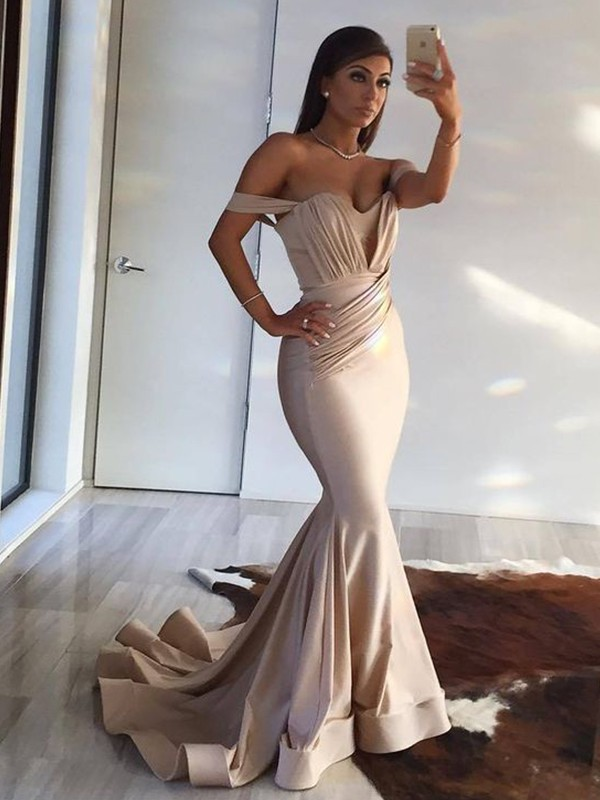 Mermaid Off-the-Shoulder Brush Train Ivory Satin Prom Dresses