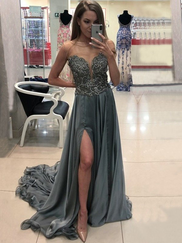 A-Line Bateau Crystal Chiffon Prom Brush Train Dresses