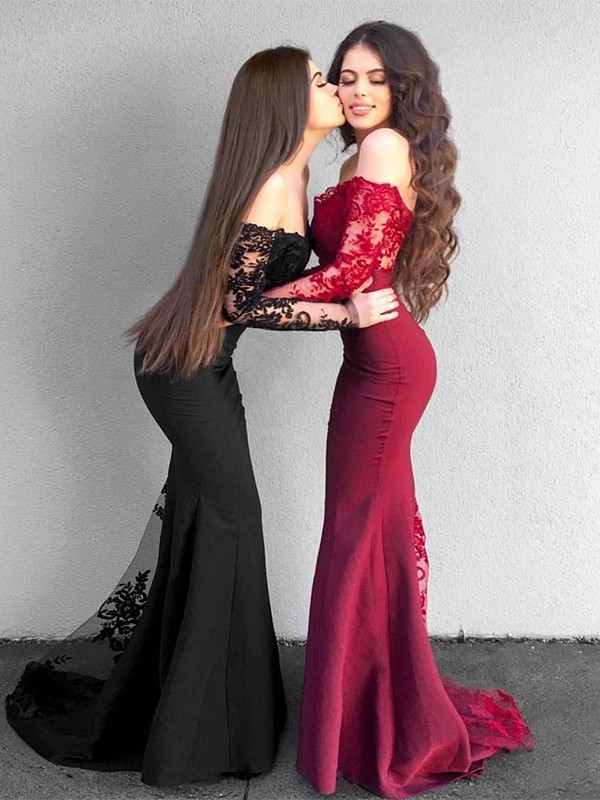 Mermaid Black Brush Train Applique Satin Prom Dresses