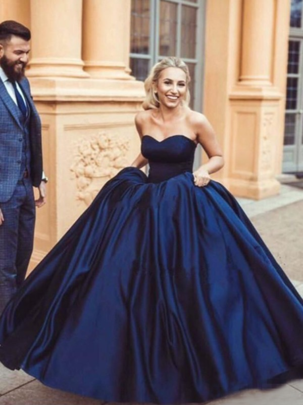 Ball Gown Dark Navy Sweetheart Long Satin Prom Dresses