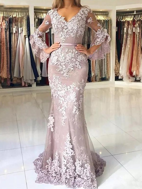 Mermaid 3/4 Sleeves V-neck Brush Train Lilac Tulle Prom Dresses