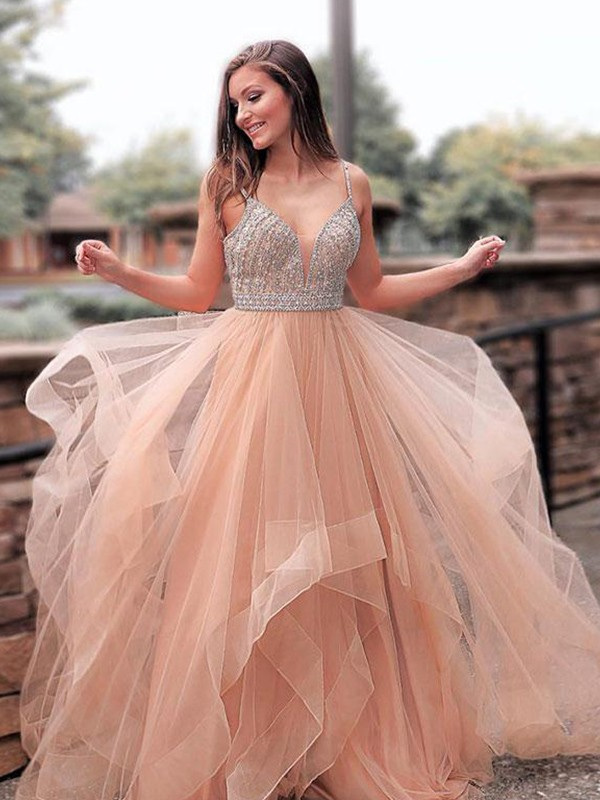 4611aedbe55 A-Line Straps Brown Brush Train Beading Tulle Prom Dresses ...