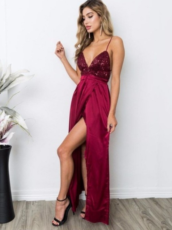 A-Line Straps Burgundy Floor-Length Sequin Silk like Satin Prom Dresses