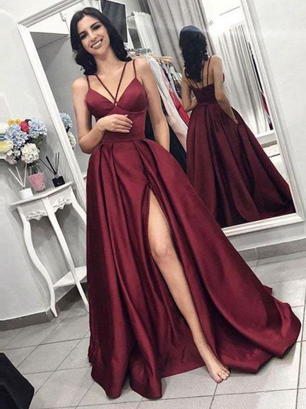 A-Line Brush Train Burgundy Ruffles Satin Prom Dresses