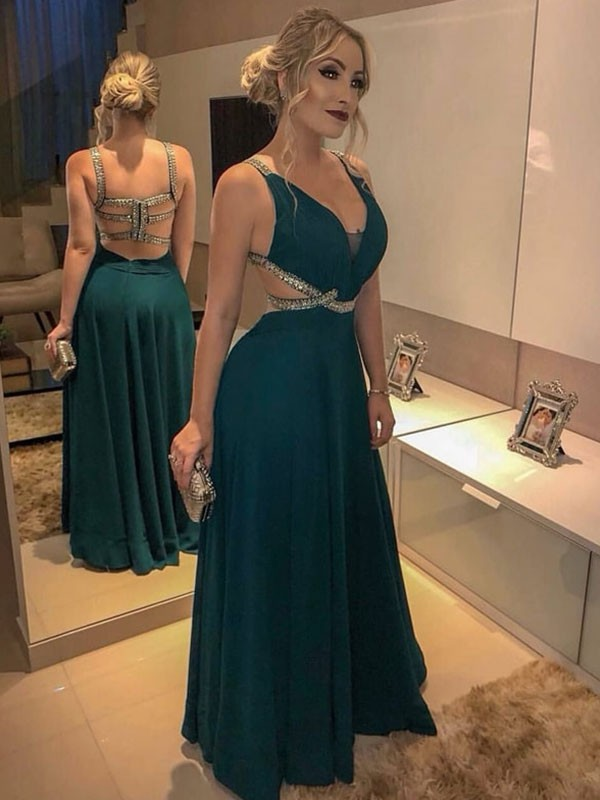 A-Line V-neck Dark Green Floor-Length Beading Chiffon Prom Dresses
