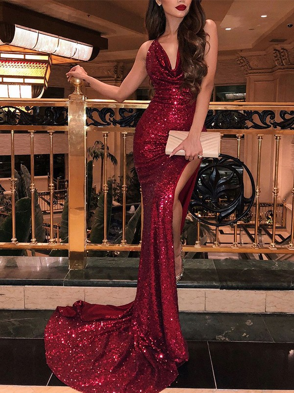 7bfded561a4a Mermaid Sleeveless V-neck Brush Train Burgundy Sequins Prom Dresses ...