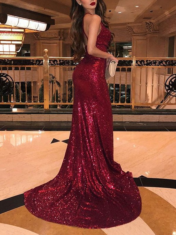 Mermaid Sleeveless V-neck Brush Train Burgundy Sequins Prom Dresses