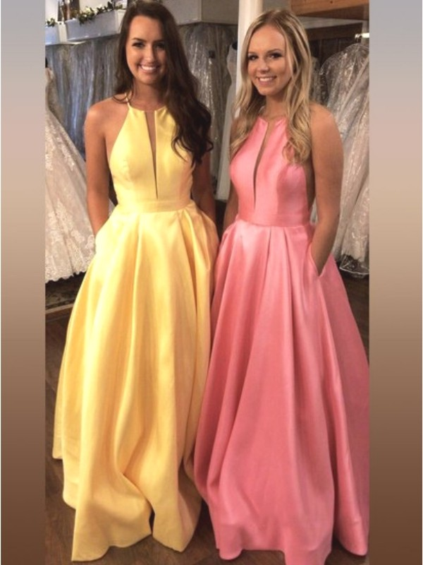 A-Line Sleeveless Daffodil Brush Train Ruffles Satin Prom Dresses