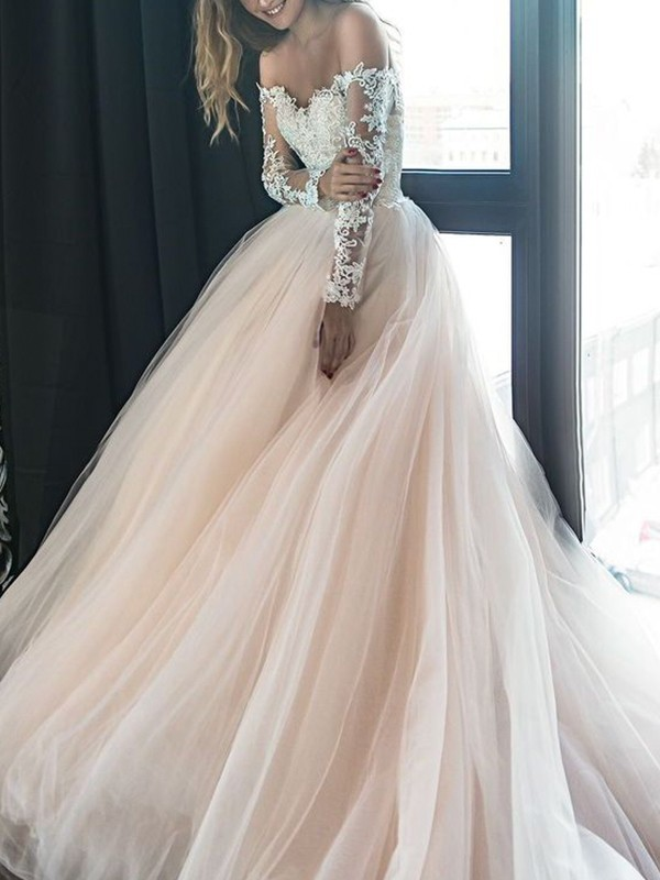 A-Line Long Sleeves Applique Tulle Court Train Wedding Dresses