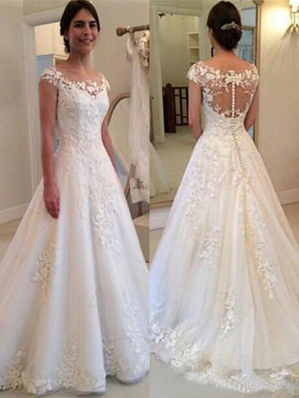 A-Line Scoop Sleeveless Brush Train Lace Tulle Wedding Dresses