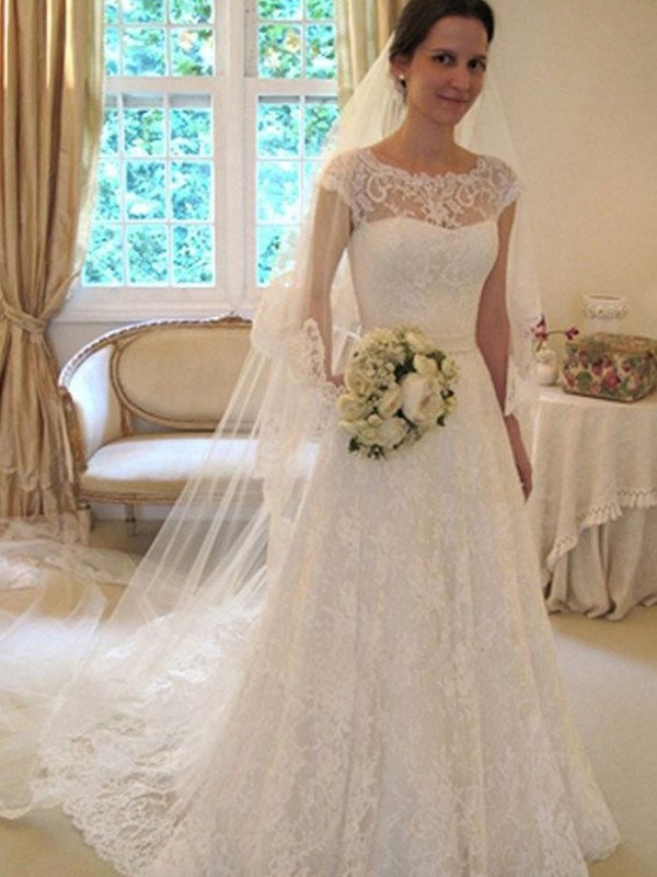 A-Line Scoop Brush Train Sleeveless Lace Tulle Wedding Dresses