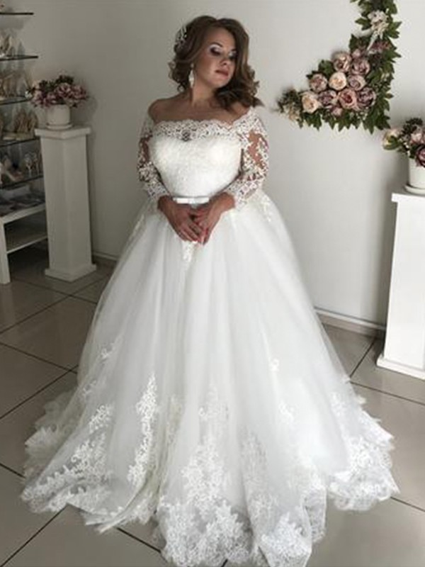 A-Line Brush Train Lace Long Sleeves Tulle Wedding Dresses