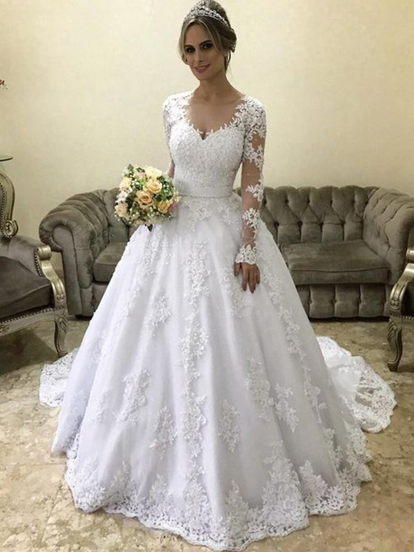 Ball Gown Applique Satin Long Sleeves Court Train Wedding Dresses