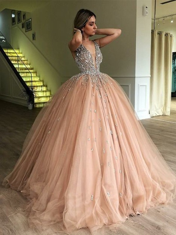 46cc04e0f7ff Ball Gown V-neck Sleeveless Floor-Length Tulle Prom Dresses ...