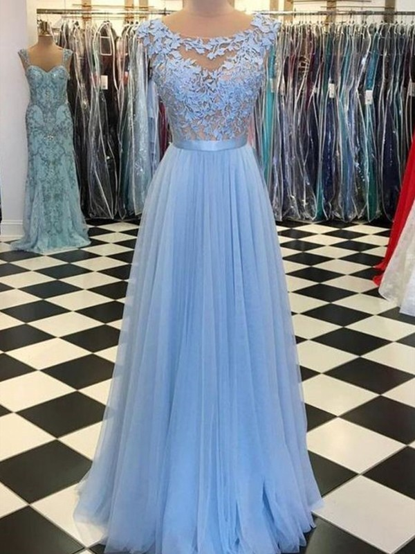 A-Line Applique Sleeveless Floor-Length Tulle Prom Dresses