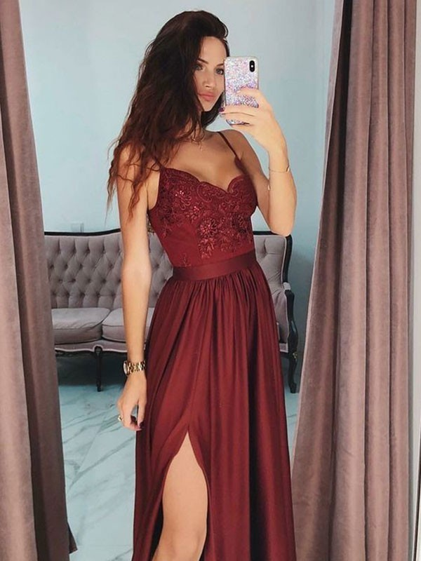 A-Line Floor-Length V-neck Lace Silk Like Satin Burgundy Prom Dresses