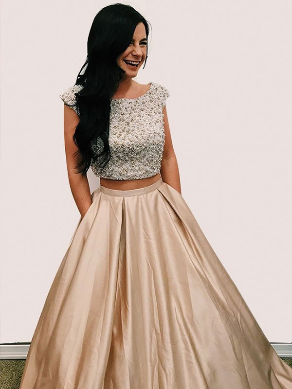 A-Line Scoop Floor-Length Satin Champagne Prom Dresses