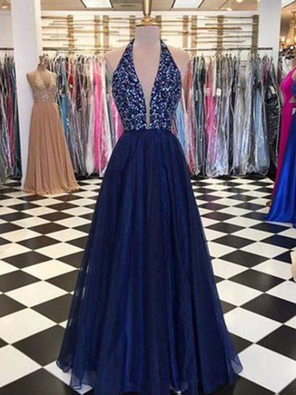 A-Line Halter Sleeveless Floor-Length Tulle Dark Navy Prom Dresses