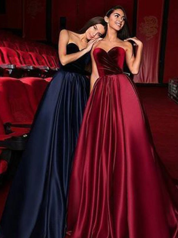 A-Line Sleeveless Sweetheart Court Train Satin Dark Navy Prom Dresses