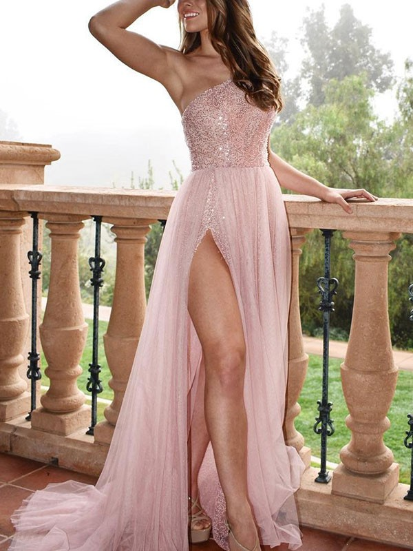 A-Line Sleeveless Brush Train Beading Tulle Pearl Pink Prom Dresses