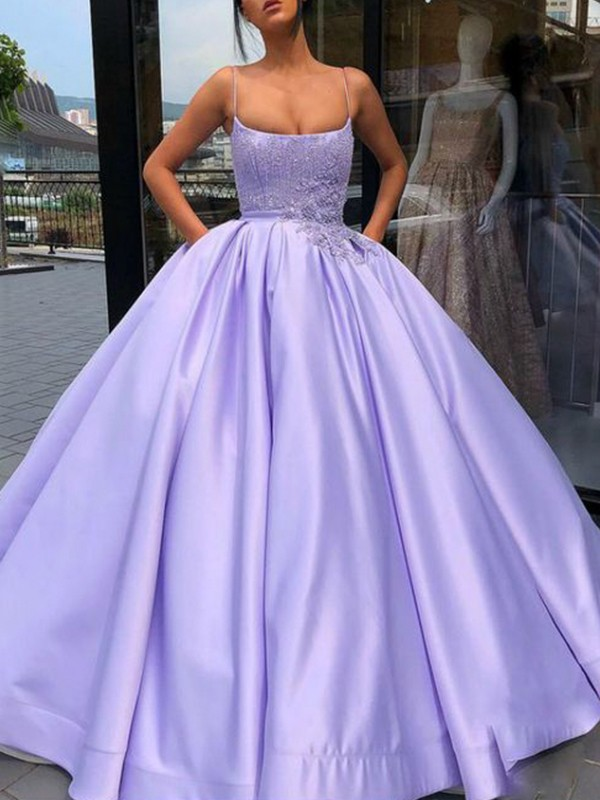 Ball Gown Satin Applique Sleeveless Floor-Length Lilac Prom Dresses