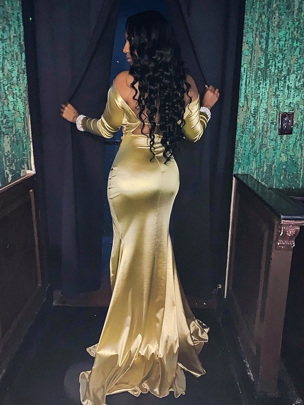 Mermaid Satin Beading V-neck Long Sleeves Brush Train Gold Prom Dresses