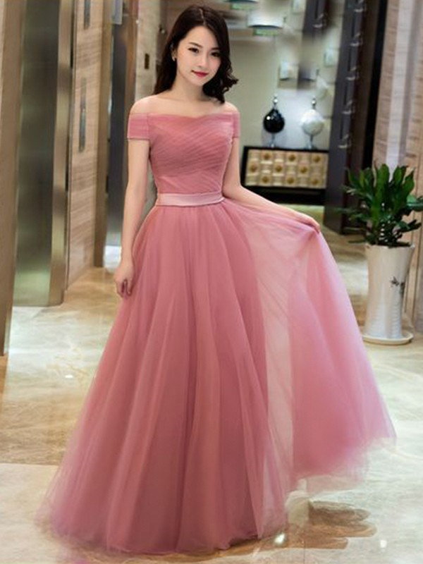A-Line Tulle Ruffles Sleeveless Floor-Length Watermelon Prom Dresses