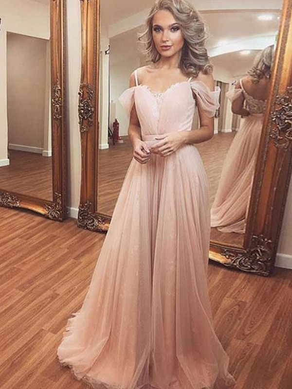 A-Line Tulle Ruched Sleeveless Brush Train Pearl Pink Prom Dresses