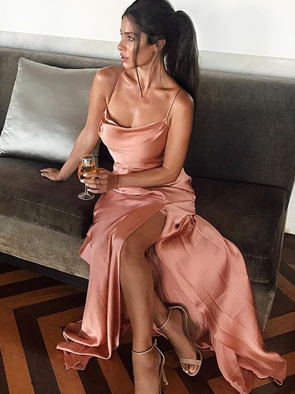 Sheath Sleeveless Pearl Pink Silk like Satin Floor-Length Evening Dresses