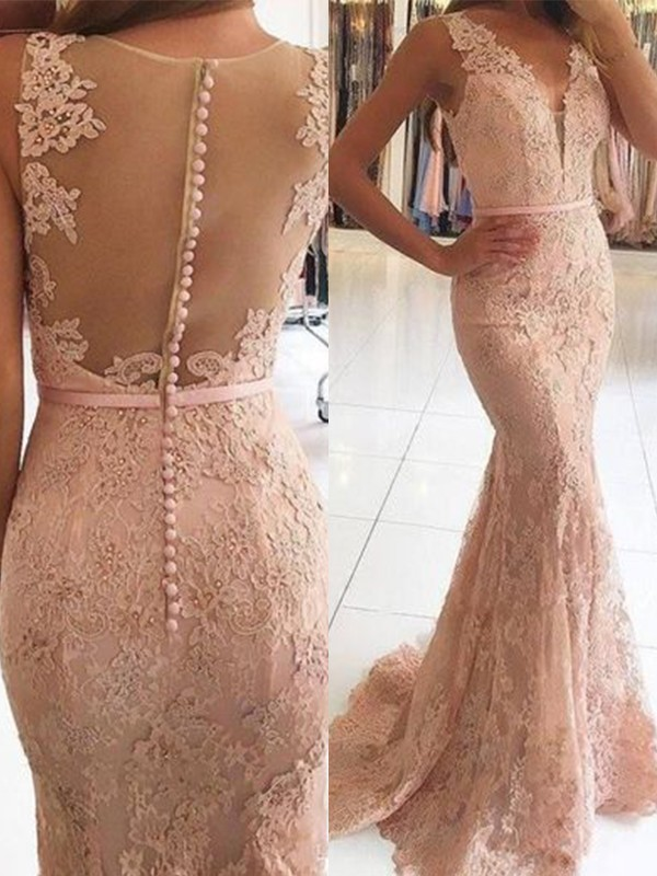 Mermaid Sleeveless V-neck Brush Train Applique Pearl Pink Lace Evening Dresses