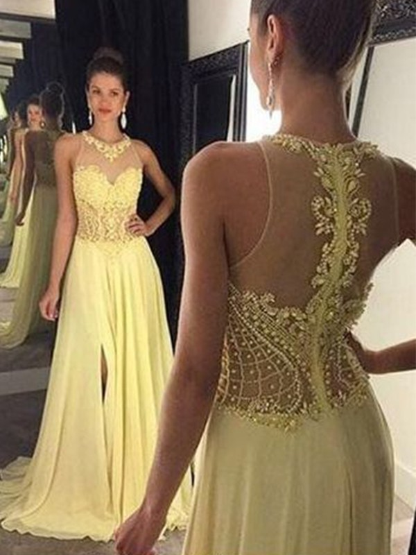 A-Line Sleeveless Yellow Sheer Neck Beading Chiffon Brush Train Evening Dresses