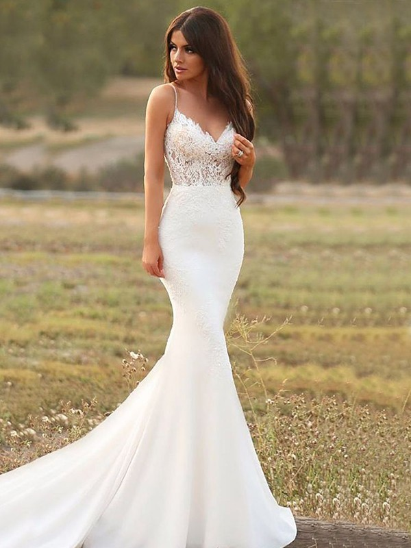 Mermaid Applique Satin White Sleeveless Brush Train Wedding Dresses