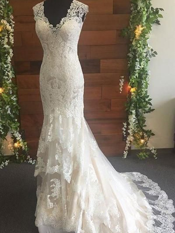 Mermaid Tulle Ivory Lace V-neck Sleeveless Brush Train Wedding Dresses