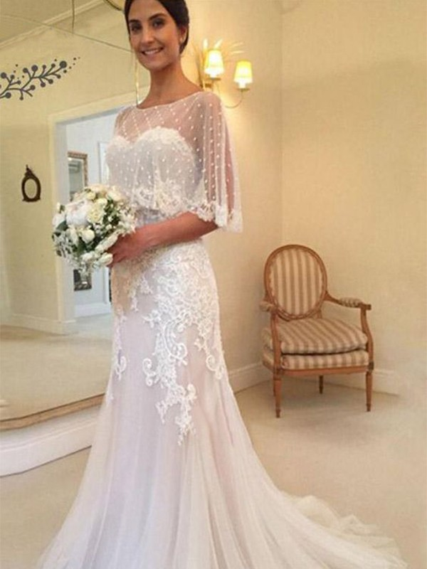 Sheath Tulle Applique Sweetheart Sleeveless Brush Train Pink Wedding Dresses