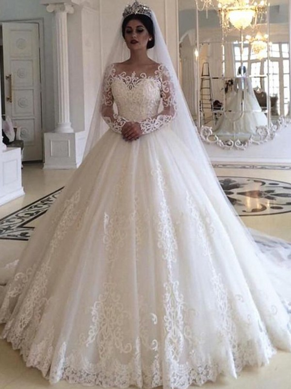 Ball Gown Tulle White Applique Long Sleeves Brush Train Wedding Dresses