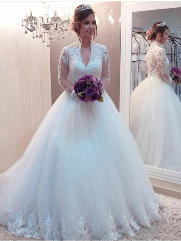 Ball Gown Tulle Applique High Neck White Brush Train Wedding Dresses