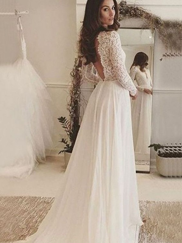 A-Line Chiffon Ivory Lace Scoop Long Sleeves Brush Train Wedding Dresses